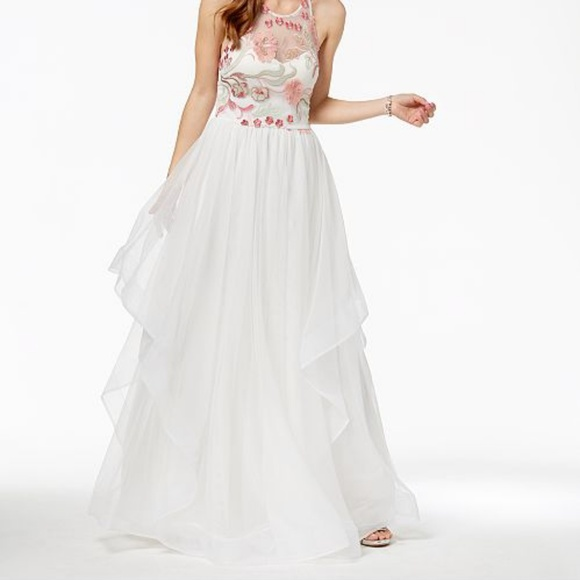 427c47c29c36 Sequin Hearts Dresses | Sequins Hearts Long White Gown With Floral ...